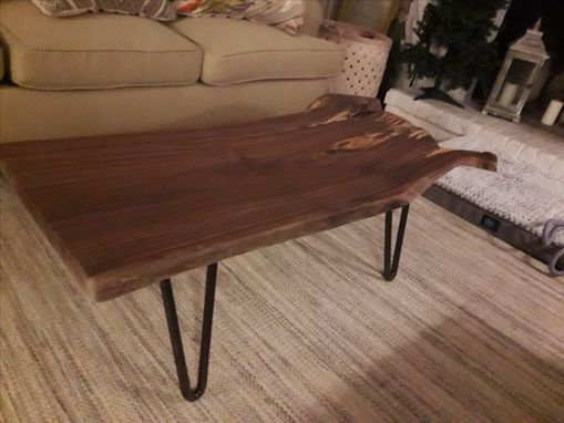 Custom Made Spalted Walnut Coffee Table With Hairpin Legs