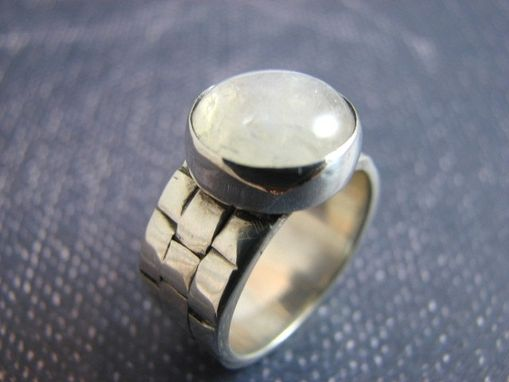 Custom Made Large Moonstone Set On A Woven Anasazi Sterling Silver Band