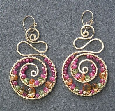 Custom Made Hammered Swirl Shapes Wrapped With Ruby, Citrine, Mandarin Garnet, Peridot