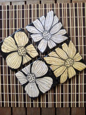 Custom Made Tile Coasters Black And White Flowers Handmade With Original Artwork-Set Of 4