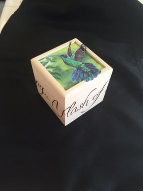 Custom Made Hummingbird Hand Painted Small Box