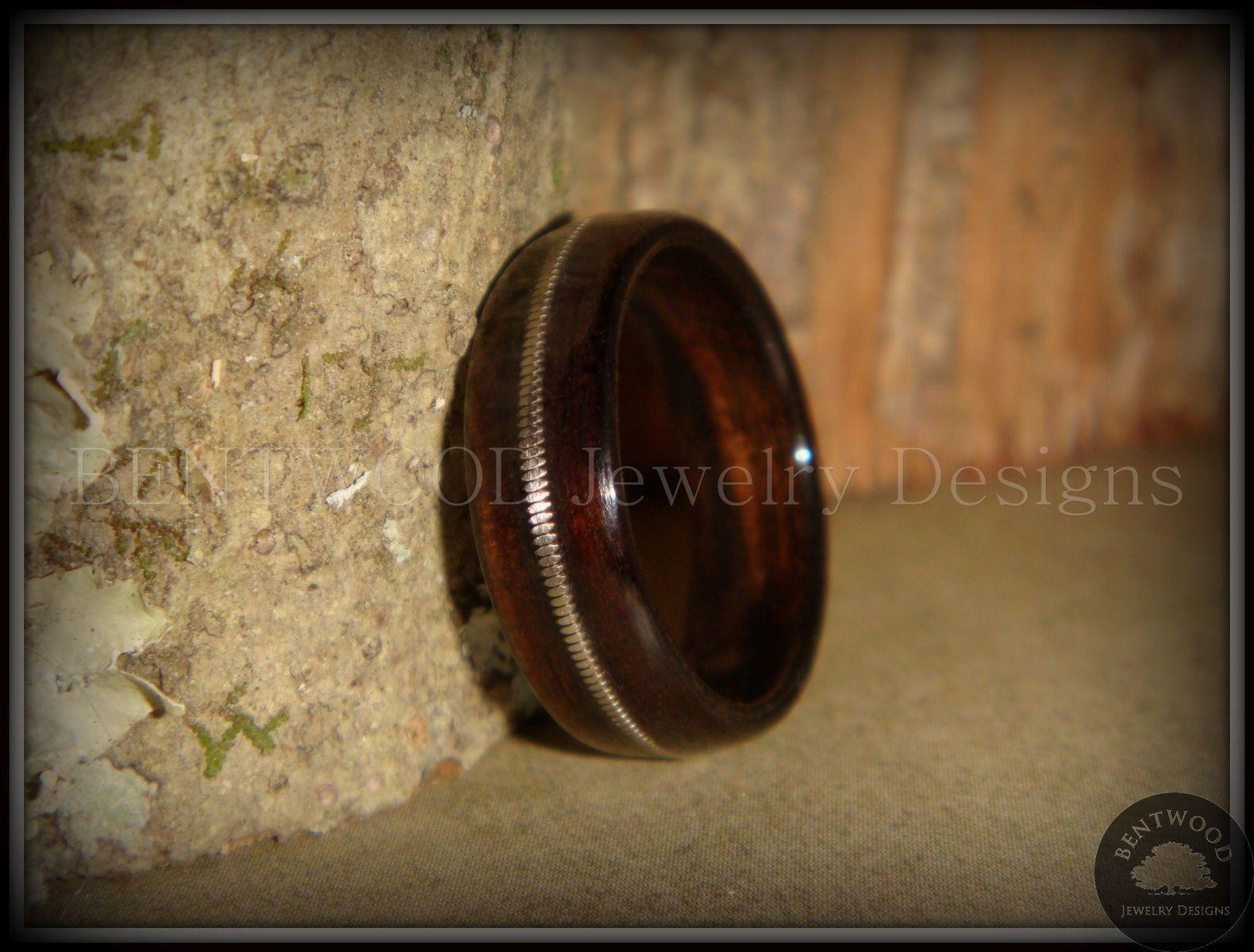 Handmade Macassar Ebony Wood Ring With Silver Guitar