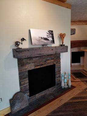 Custom Made Fireplace Mantel Rustic Distressed Knotty Alder Salvaged Beam Design Coastal Gray Finish