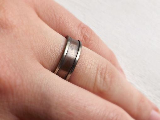 Silver Bronze Ring For Men Unique Mens Wedding Band Or Anniversary Gift