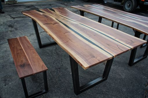 Custom Made Black Walnut & Black Resin Dining Table