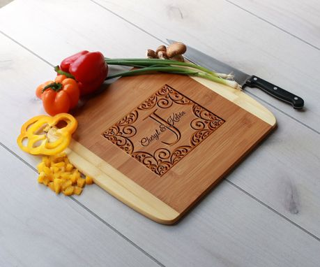 Custom Made Personalized Cutting Board, Engraved Cutting Board, Custom Wedding Gift – Cb-Bam-Cobalt