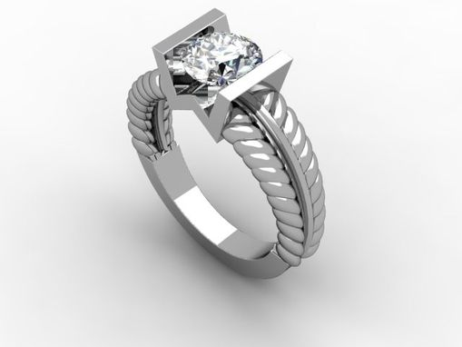 "Custom Made Wedding Ring With Diamond And ""M"" Setting"