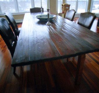 Custom Made Hand-Hewn Cherry Farm Table