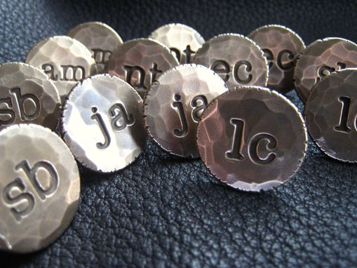 "Custom Made Solid Bronze ¾"" (1.9 Cm) Diameter Bronze Cuff Links  Cufflinks With Two Lower Case Initial"