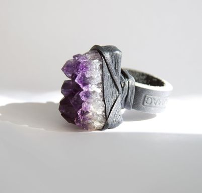 Custom Made Amethyst Ring, Grade A Amethyst Cluster On Leather Ring Band, Choose Your Size