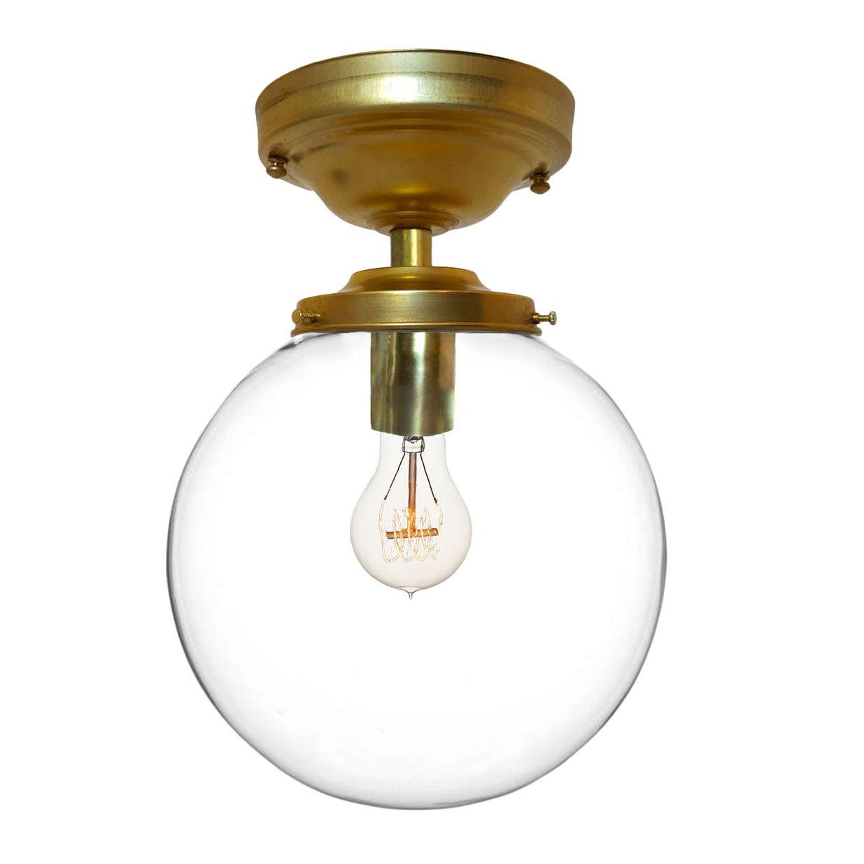 Custom Made 8 Clear Blown Glass Globe Flushmount Light Brass By