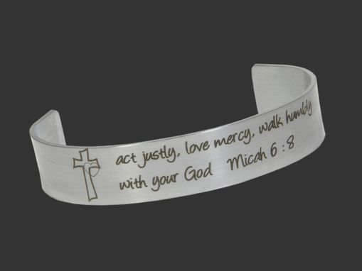 Custom Made Micah 6:8 The Lord Requires Of You To Do Justly,To Love Mercy,& To Walk Humbly Bible Bracelet Cuff