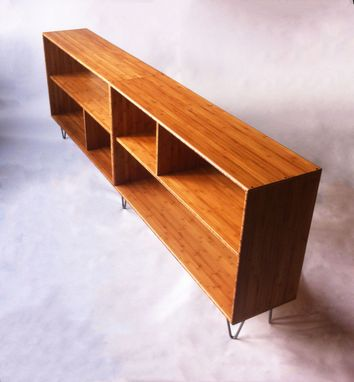 Custom Made Mid Century Modern Style Bookcase In Solid Caramelized Bamboo With Hairpin Legs