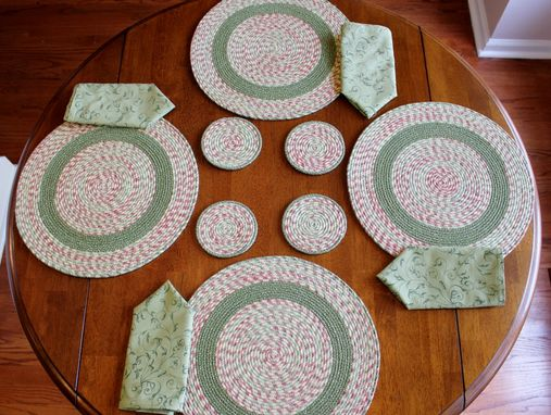 Custom Made Fabric Placemat Set - Hand Wrapped Clothesline - Placemats/Coasters/Napkins