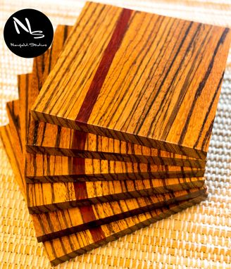 Custom Made Hardwood Zebrawood Coasters