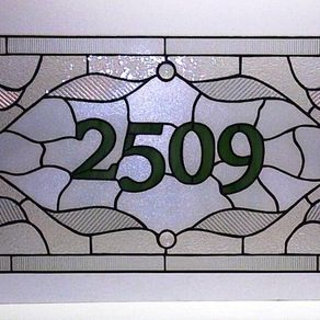 f150a2ebda1 Stained Glass Window Panel   Traditional Design With House Numbers (Am-37)  by