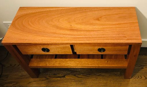 Custom Made Bench, Seat Or Accent Table With Drawers And Shelf Made From Solid Mahogany