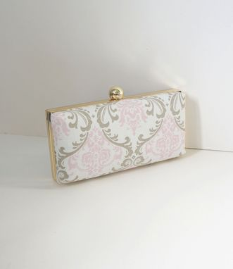 Custom Made Baby Pink Damask Print Cotton Clamshell Clutch Purse