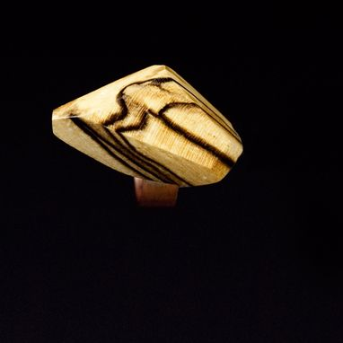 Custom Made Spalted Maple Wearable Sculpture Ring With Sterling Silver Band
