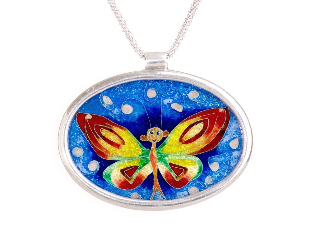 Hand Made Princess Butterfly Cloisonne Enamel Pendant By Awked