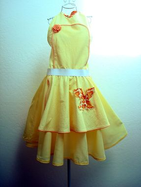 Custom Made Handmade Apron Dress - Butterfly Circle Skirt Dress
