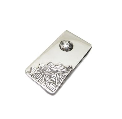 Custom Made Sun Mountains Money Clip - Etched Silver Money Clip - Textured Money Clip - Ooak Credit Card Holder