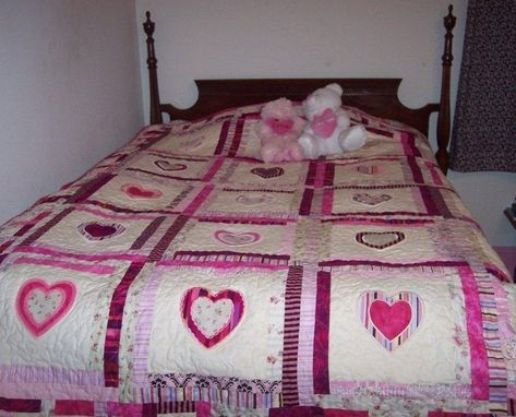 "Custom Made Custom ""Heart Of My Heart"" Applique And Embroidery Quilt"