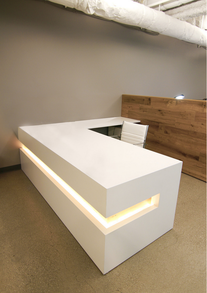 Buy a custom white lacquer reception desk made to order for Reception furniture