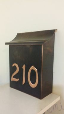 Custom Made Flush Mount Copper Mailbox With 3 House Numbers