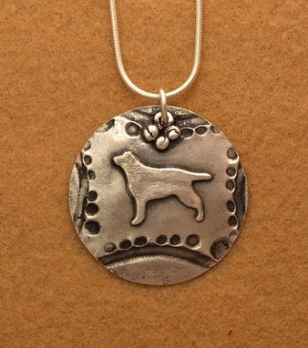 Custom Made Round Silver Labrador Necklace - Sm
