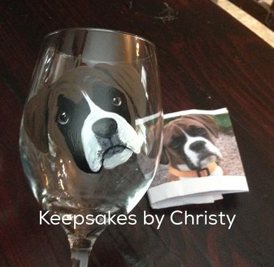 Custom Made Custom Hand Painted Wine Glass - Boxer