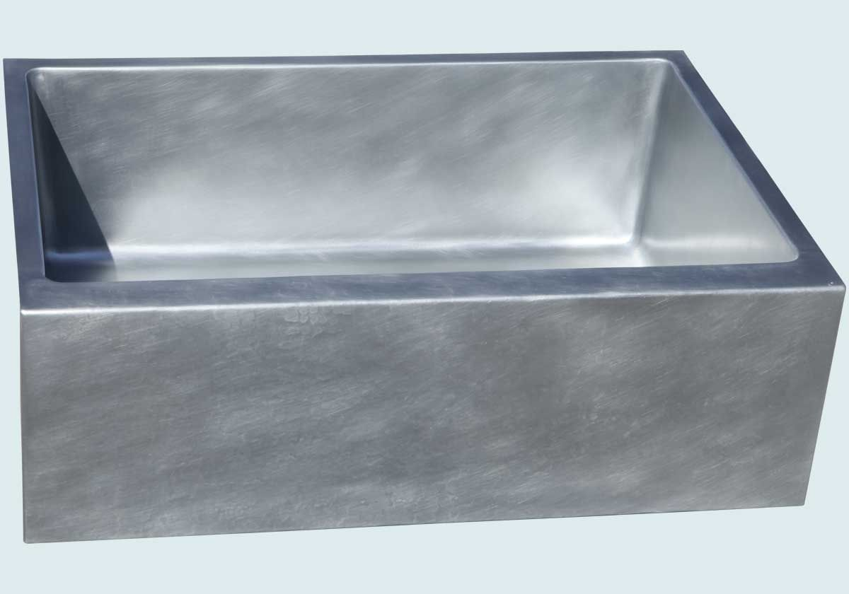 Custom made zinc sink with lightly hammered apron by for Kitchen zinc design