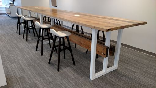 Custom Made Contemporary Reclaimed Wood And Steel Trestle Conference Table.