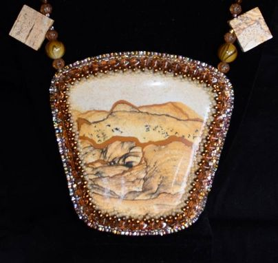 Custom Made Bead Embroidered Picture Jasper Necklace