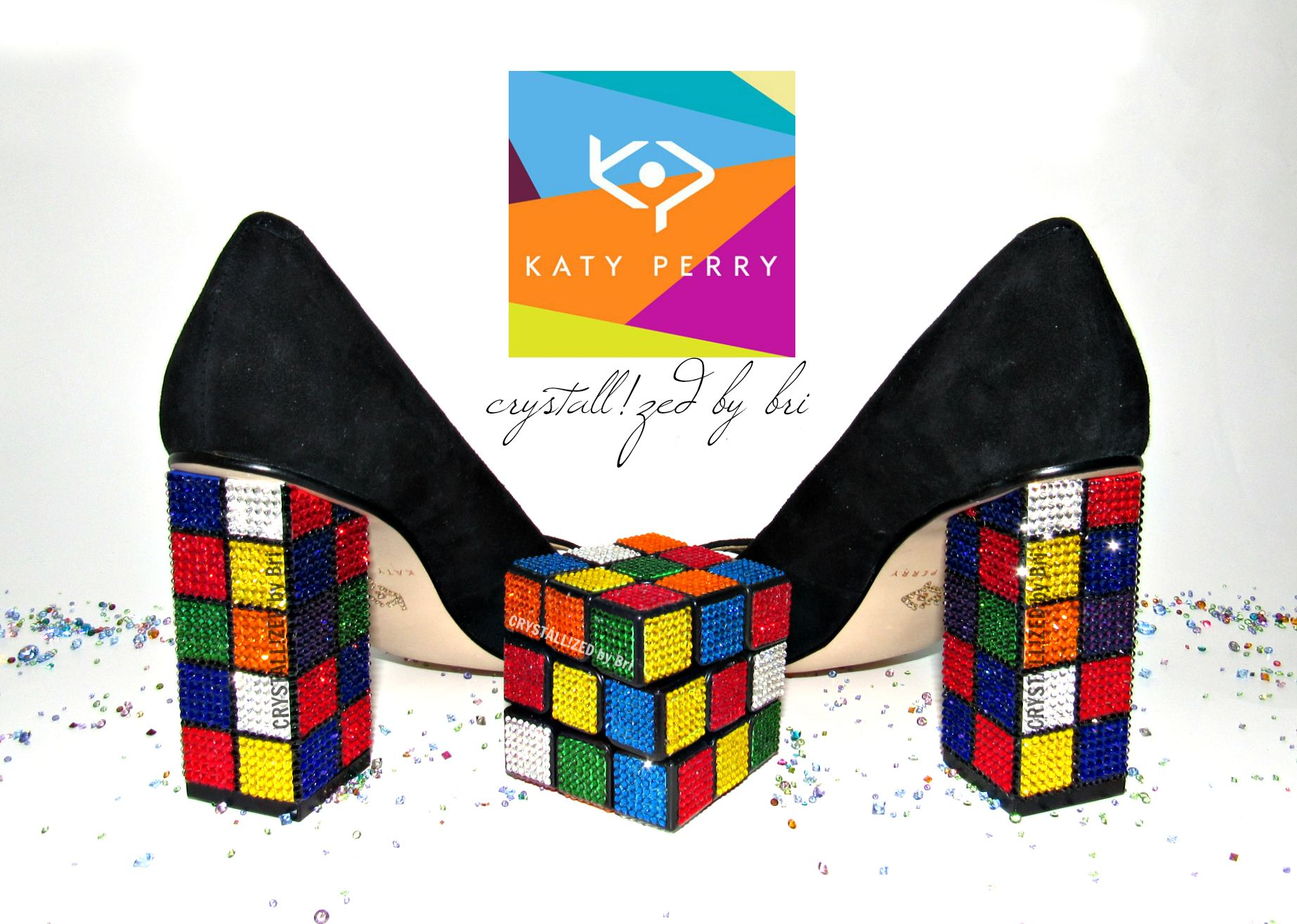 576335cc08e Custom Made Crystallized Katy Perry Rubik s Cube Heels