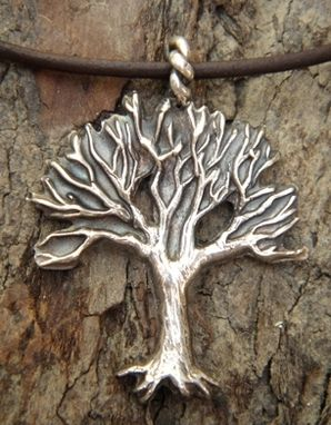 Custom Made Fine Silver - Tree With Roots Necklace - $130