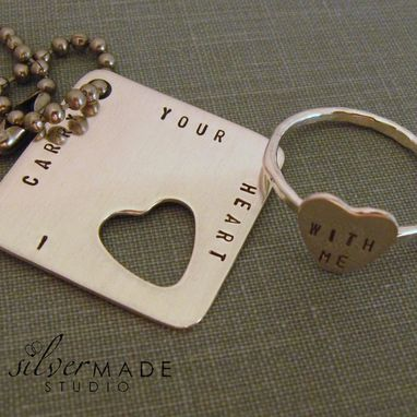 Custom Made I Carry Your Heart. Large Square Keychain And Sterling Silver Heart Ring (Intertwine)