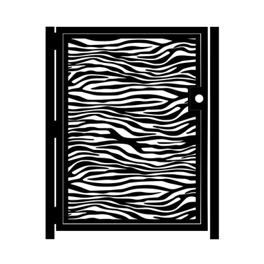 Custom Made Decorative Steel Gate - Zebra Print - Animal Print Gate - Decorative Steel Art - Garden Gate
