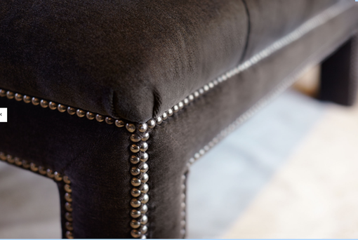 Custom Made Lionel, Leather Tufted Ottoman
