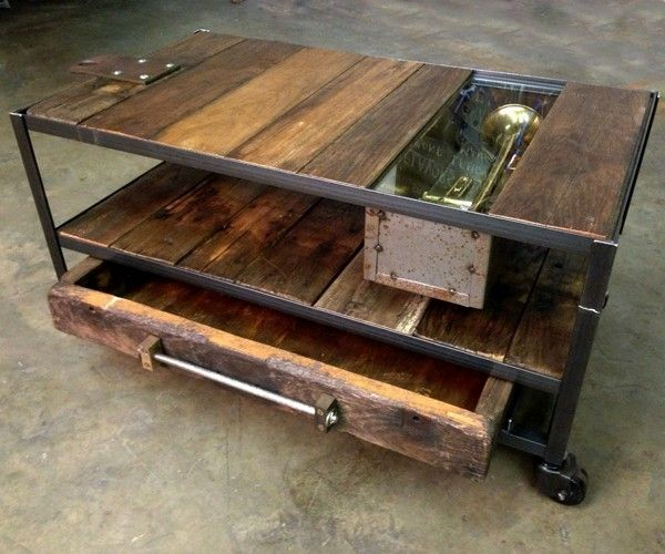 Industrial Unique Metal Designer Coffee Table: Custom Made Industrial Coffee Table With Rustic Wood And