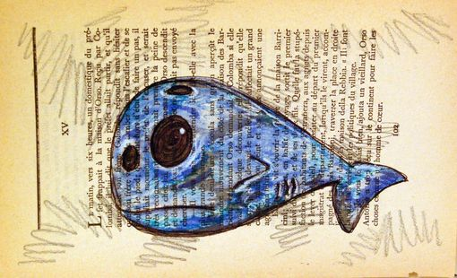 Custom Made Blue Whale - Original Drawing On Vintage French Paper
