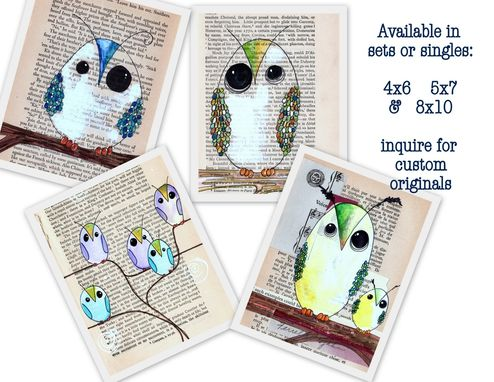 Custom Made Sale Owl Prints - Oops- Owl Prints--4x6 Size- 4 Prints Of Owls In Many Colors
