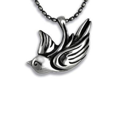 Custom Made Sparrow Pendant Necklace In Sterling Silver With Chain