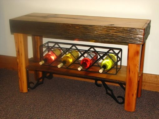 Custom Made Antique Barn Wood Apron Table With Wine Racks