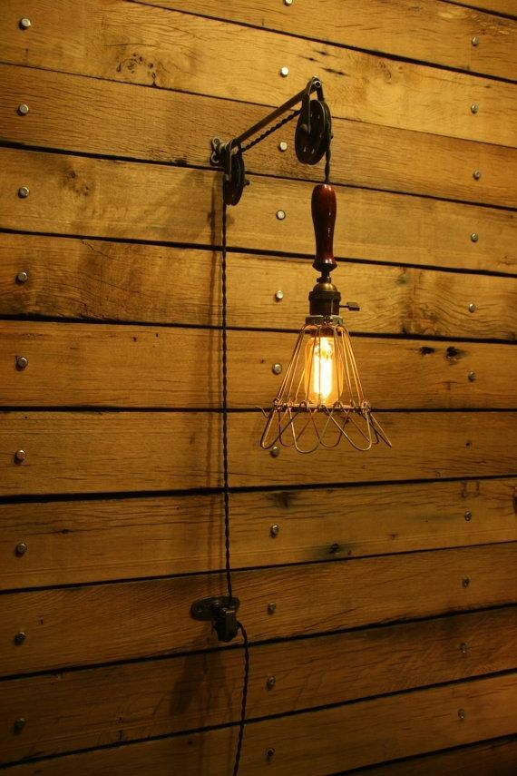 newest c016d 0b012 Hand Made Industrial Pulley Light by Industrial Rewind ...
