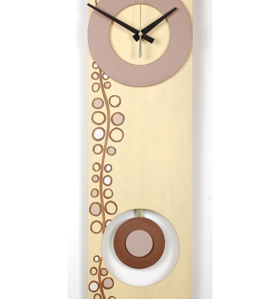 Hand Made Long Wall Clock - Circle Design, Pale Yellow, Brown, Taupe ...