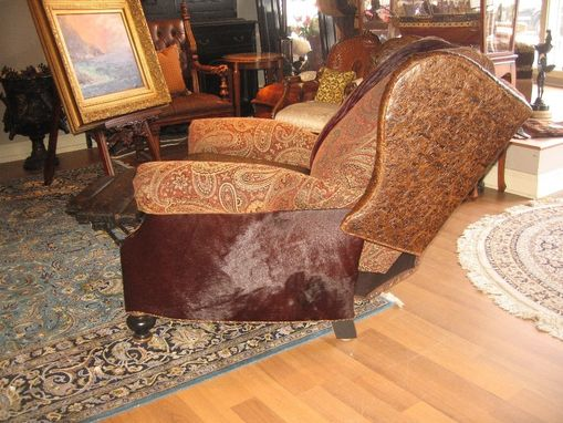 Custom Made Unique Furniture, Recliner With Tooled Leather And Burgundy Hair On Hide Accents