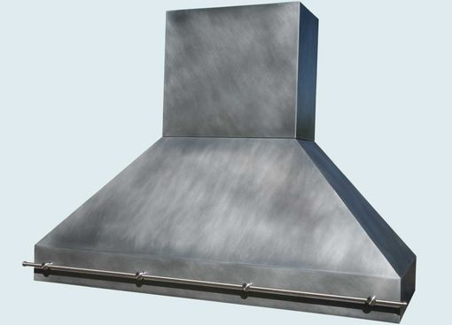 Custom Made Zinc Range Hood With Stainless Pot Rail