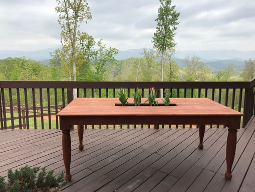 Custom Made Outdoor Cypress Farm Table With Planter For Spring Flowers