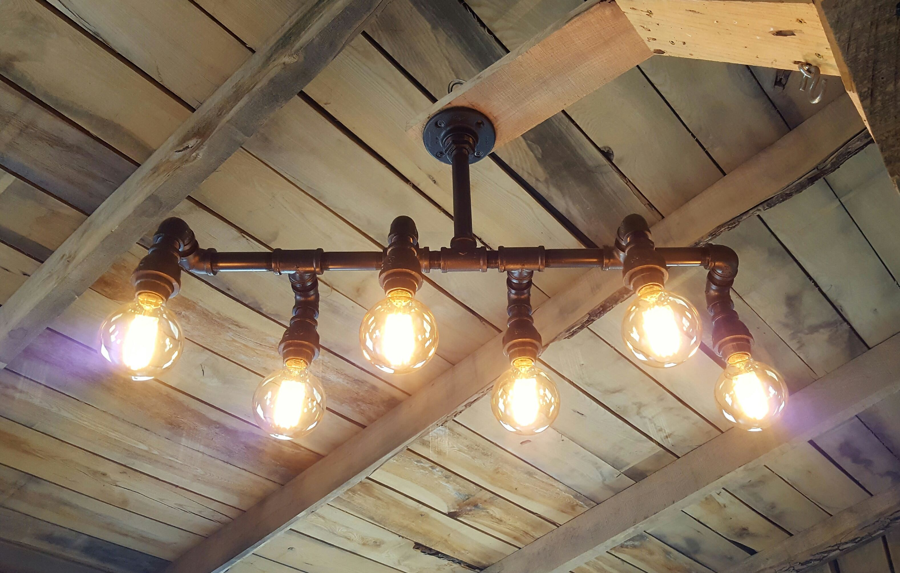Buy a Hand Made Custom Rustic Industrial Chandelier Black Stagger